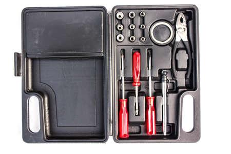Boxset of tools isolated on white background photo