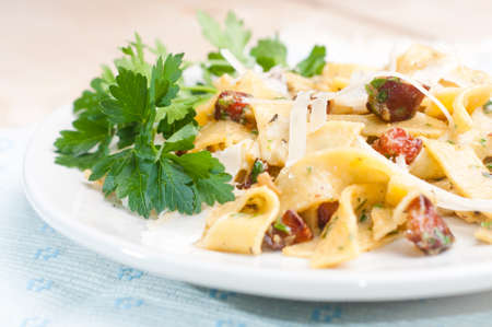 Spaghetti Carbonara with bacon, parsley and cheese photo