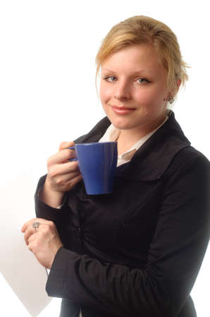 woman coffee cup isolated close up portrait photo