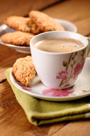 homemade cookies with oatmeal and coffee Stock Photo