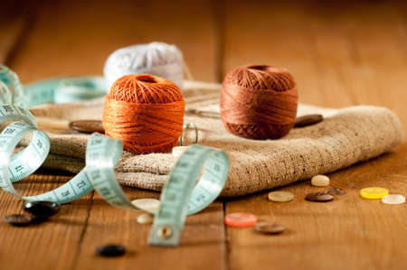 Vintage with sewing tools Stock Photo
