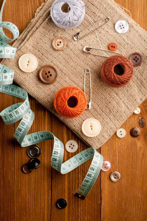 Vintage with sewing tools photo