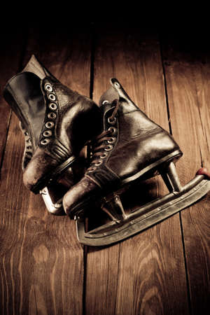 Old skates. Retouching in vintage style. photo
