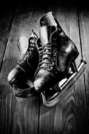 Old skates. Black and white photography photo