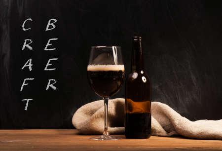 Dark craft beer id the glass