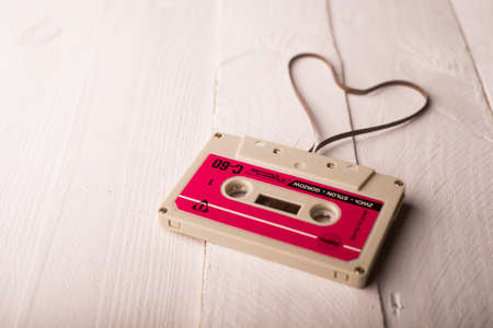 Audio cassette tape in the shape of heart