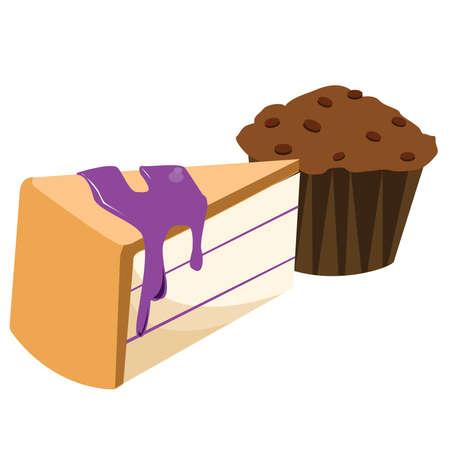 yummy: yummy cake and chocolate cupcake Illustration