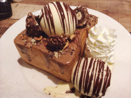 ferrero: Ferrero toast with vanilla ice cream