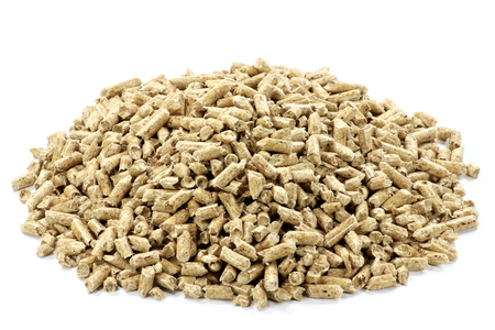 wood pellets: Accumulation of wood pellets isolated on white background