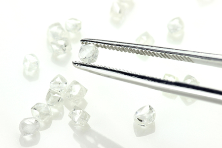 rough diamond: rough diamonds held by tweezers on white background