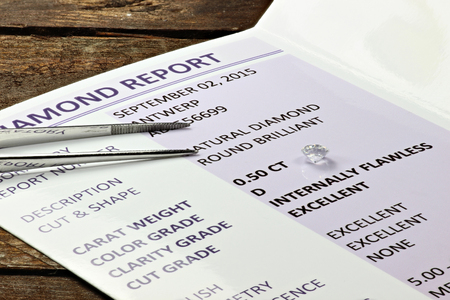 diamond: Cut Diamond with Certificate Stock Photo