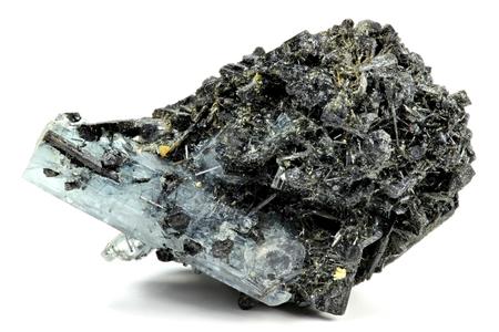 aquamarine crystal from Erongo Namibia nestled in matrix isolated on white background Stock Photo
