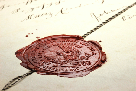 indenture: antique wax seal on old notarial document