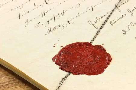 wax seal: antique wax seal on old notarial document