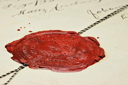 antique wax seal on old notarial document Imagens - 50537897