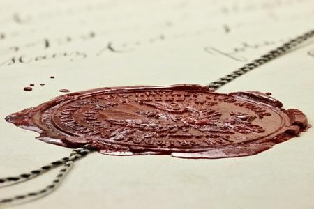 antike Siegel auf alte notariellen Urkunde