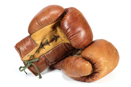 vintage boxing gloves isolated on white background
