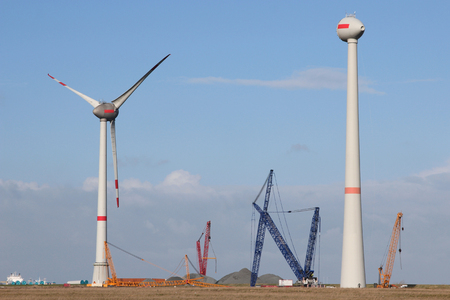 nonpolluting: Construction of a wind turbine