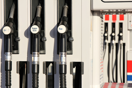 gas pump: gas pump with 3 nozzles Stock Photo