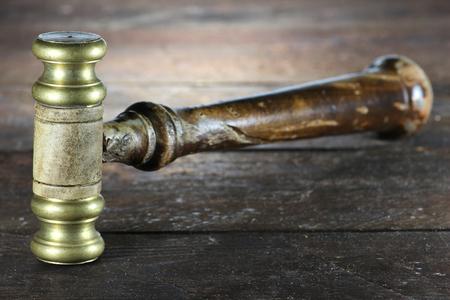 sentencing: vintage gavel on wooden background Stock Photo