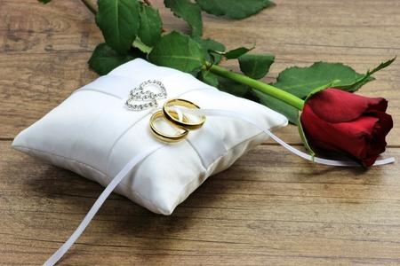 anelli di nozze d'oro su cuscino bianco Ringbearer