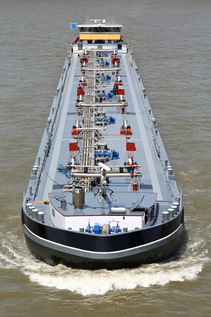 inland waterways: inland tanker shipping vessel on river Stock Photo