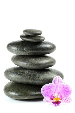 black stones: basalt stones for hot stone massage isolated on white background