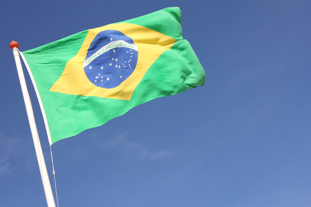 patriotism: Brazilian flag blowing in the wind