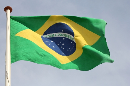 flagstaff: Brazilian flag blowing in the wind