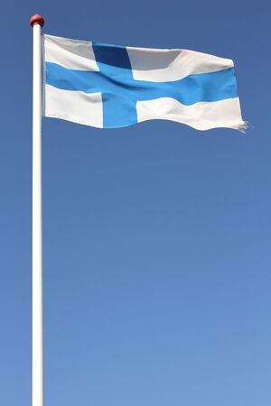 finnish: finnish flag blowing in the wind