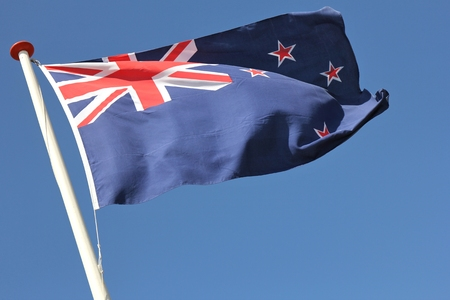 new zealand flag: Flag of New Zealand flag blowing in the wind Stock Photo