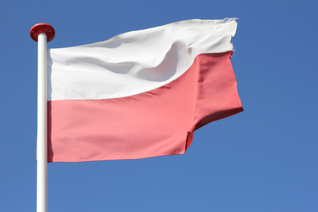 bandera de polonia: bandera polaca en el viento Foto de archivo