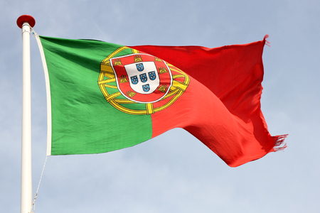 portugese: Portugese flag blowing in the wind