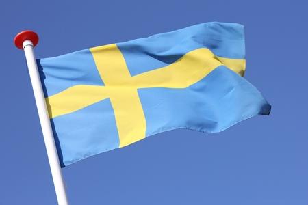 swedish: swedish flag blowing in the wind Stock Photo