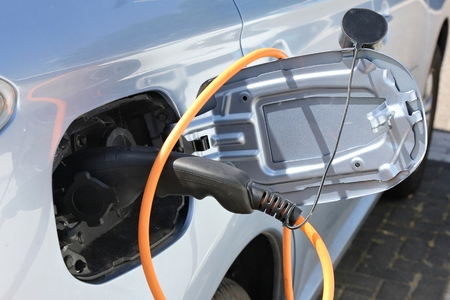 hybrid car being charged