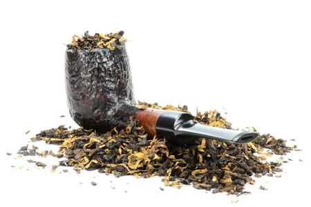 briar: briar pipe with tobacco isolated on white background Stock Photo