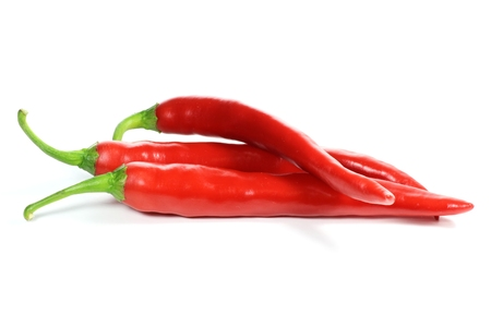 red peppers: red peppers isolated on white background Stock Photo