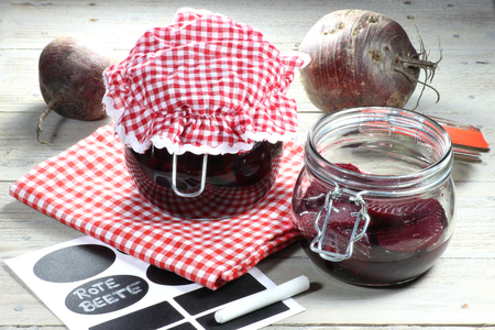 mellowness: Home canned beetroot with German labeling Stock Photo