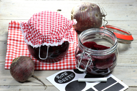 Home canned beetroot with German labeling Stock Photo