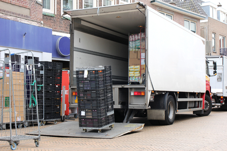 Delivery truck being unloaded