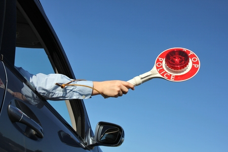 pulled over: trafficstop Stock Photo