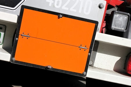 orange-colored hazard-identification plate