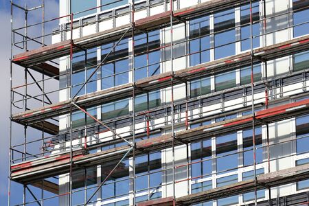 couplers: Scaffolding at at office building currently under construction