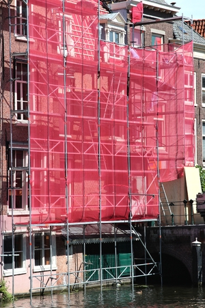 scaffolding at residental building currently under renovation