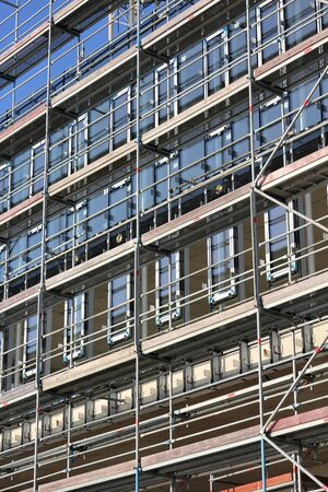 building sector: Scaffolding at at office building currently under construction