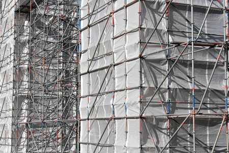 building sector: scaffolding at bridge piles currently under renovation