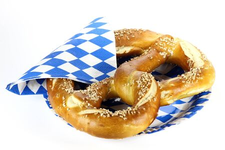 traditional Bavarian Oktoberfest pretzel isolated on white background