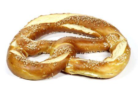 lye: traditional Bavarian Oktoberfest pretzel isolated on white background Stock Photo