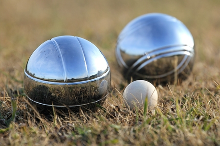 bocce: Bocce balls with jack on grass