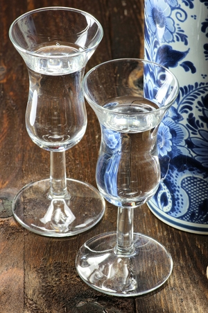 delftware: Dutch gin traditionally served in tulip-shaped glasses Stock Photo